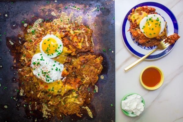 Loaded Chili Cheese Latkes