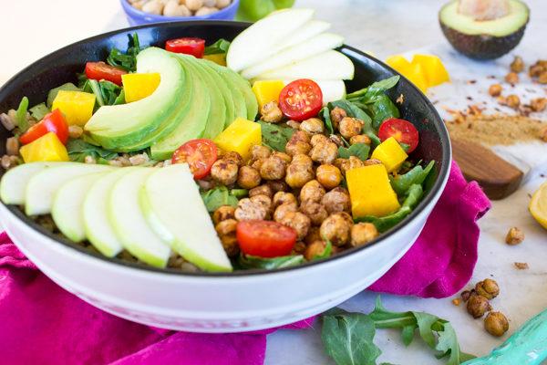 Apple Beet Farro Salad with Crispy Chickpeas