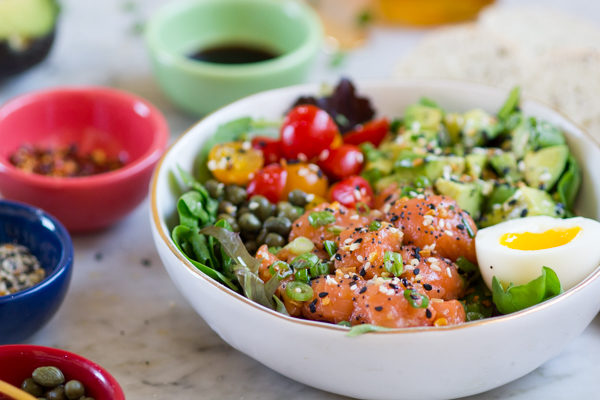 Spicy Salmon Bagel Bowl