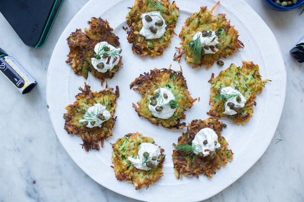 Gluten Free Zucchini Potato Latkes with Dill Sour Cream and Fried Capers