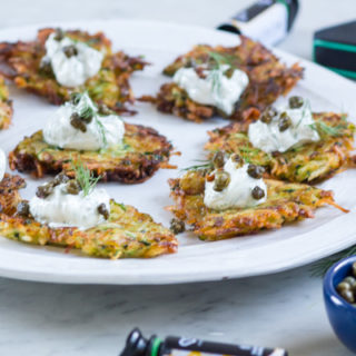 Gluten-Free Zucchini-Potato Latkes with Dill Sour Cream and Fried Capers