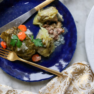 Stuffed Cabbage Rolls with White Wine Sauce