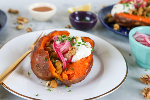Stuffed Sweet Potatoes with Za'atar Chickpeas and Whipped Tahini Yogurt