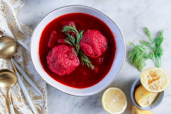 Beet Kubbeh Matzah Ball Soup