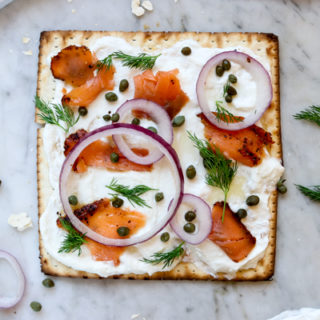 Lox and Horseradish Schmear Matzah Pizza