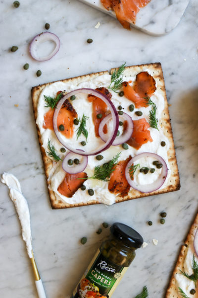 Lox and Horseradish Schmear Matzah Pizza