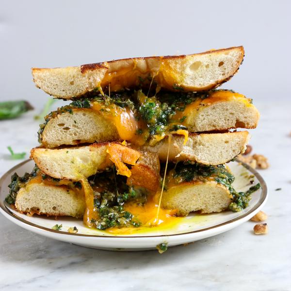 Zaatar Pesto Bagel Grilled Cheese