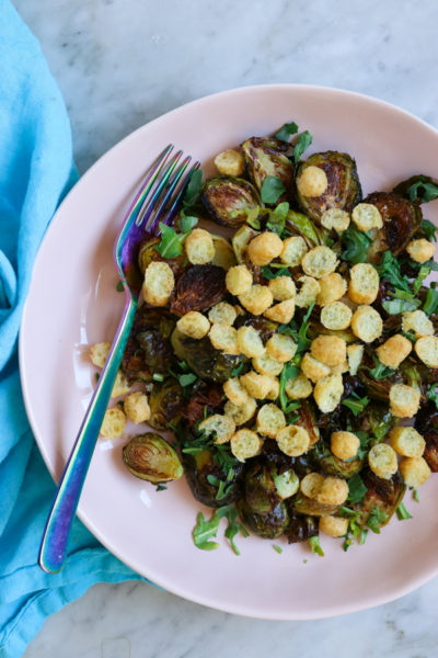 Roasted Brussels Sprouts with Bamba