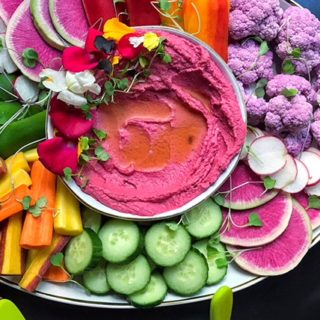 Beet Hummus with Rainbow Crudites