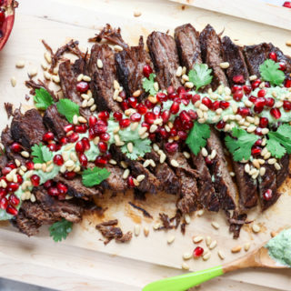 Pomegranate Brisket with Avocado Cilantro Aioli