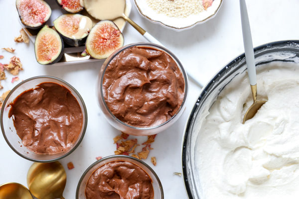 Chocolate Tahini Avocado Mousse with Cardamom Whipped Cream