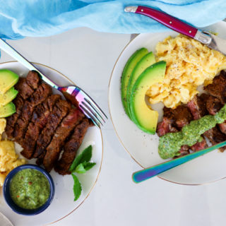 Shawarma Churrasco Steak and Eggs with Avocado Mint Chimichurri