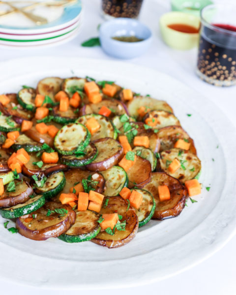 Marinated Eggplant and Zucchini with Persimmon