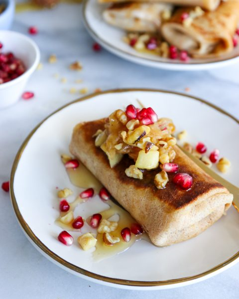Caramelized Onion, Apple and Goat Cheese Blintzes