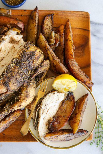 Za'atar Roasted Chicken Over Sumac Potatoesv