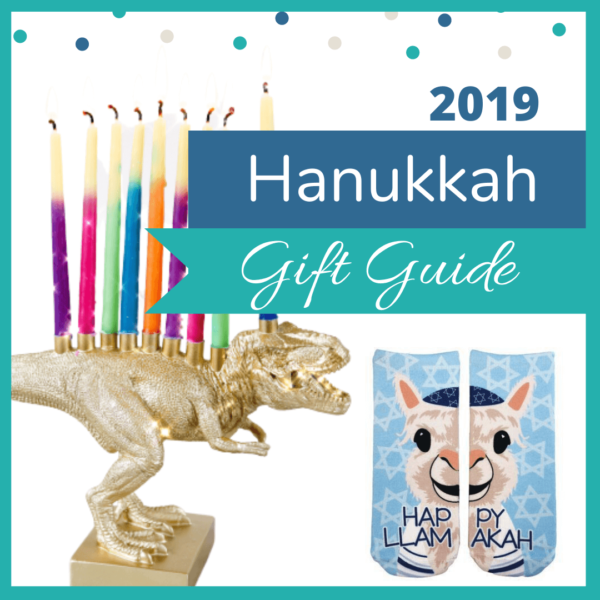 Hanukkah Gift Guide 2019. From Glitter Chai Earrings to a Dinosaur Menorah!