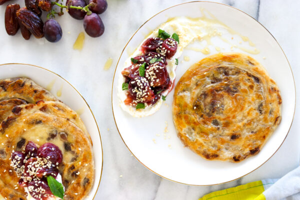 Date Malawach with Roasted Grapes and Labneh