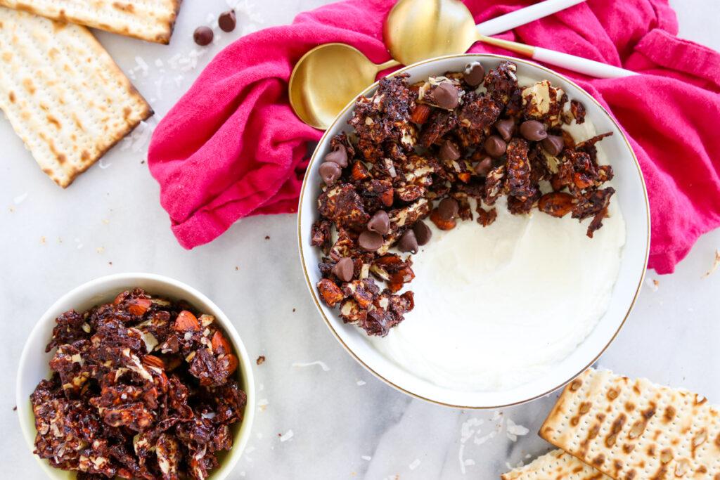 Chocolate Coconut Matzah Granola