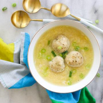 Egg Drop Matzah Ball Soup