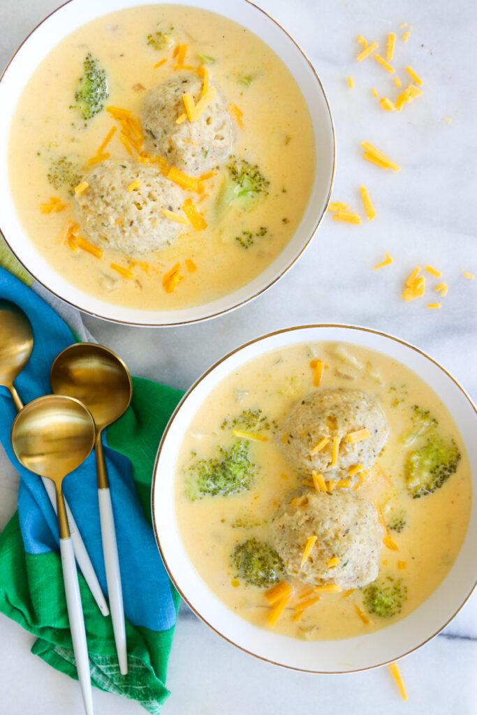 Matzah Ball Broccoli Cheddar Soup