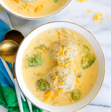 Broccoli Cheddar Matzah Ball Soup