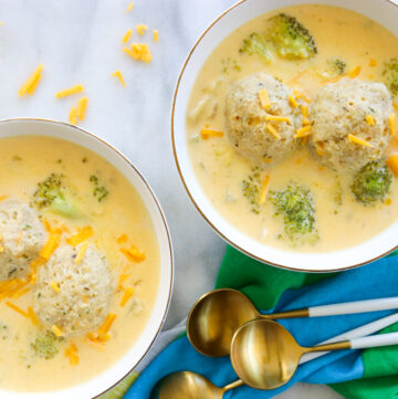 You cheddar believe that any soup is better with matzah balls! Even Broccoli Cheddar Matzah Ball Soup