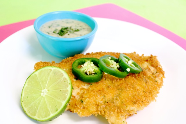 Chicken Schnitzel with Jalapeno Sauce