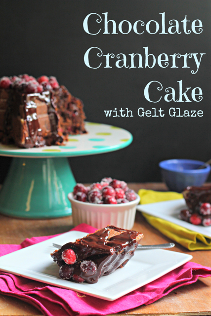 Chocolate Cranberry Cake with Gelt Glaze by What Jew Wanna Eat for Thanksgiving, Thanksgivukkah or Hanukkah!