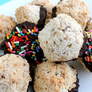 Dark Chocolate Macaroons with Rainbow Sprinkles