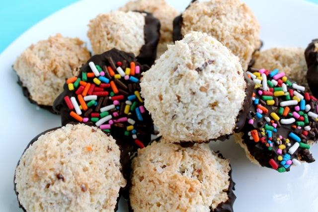 Rainbow Sprinkle and Sea Salt Chocolate Macaroons