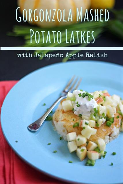Gorgonzola Mashed Potato Latkes (Pancakes) with Jalapeño Apple Relish for Hanukkah or Thanksgivukkah or Thanksgiving!