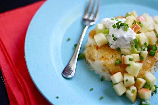 Gorgonzola Mashed Potato Latkes with Jalapeño Apple Relish 7