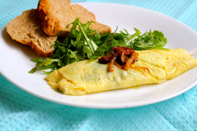 Perfect Omelette with Arugula and Gribenes
