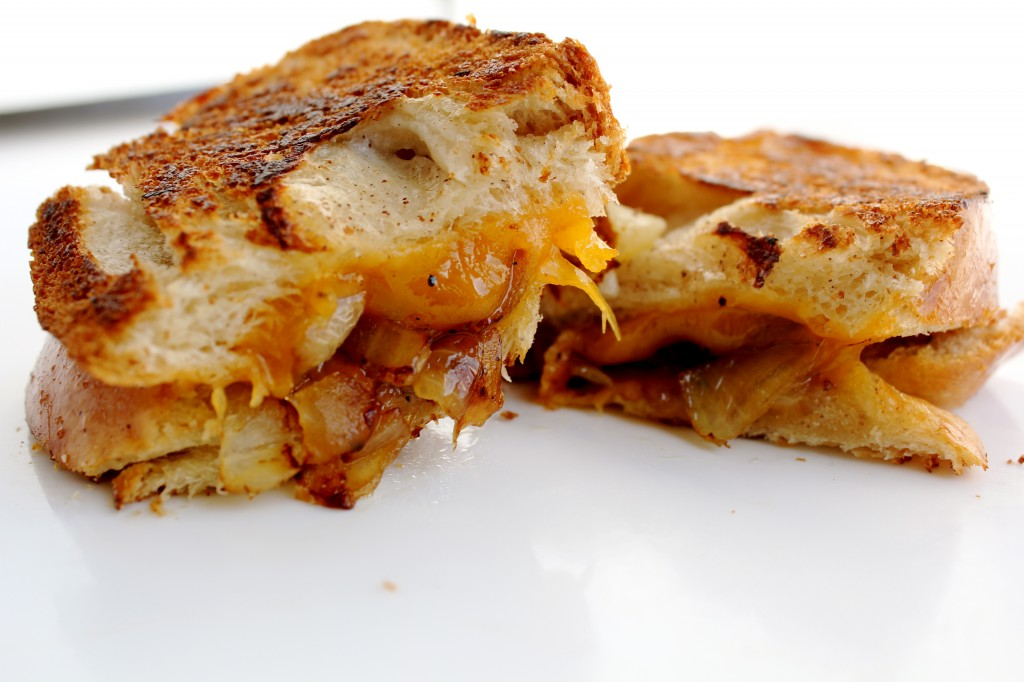 Grilled Cheese with Caramelized Onions on Apple Challah