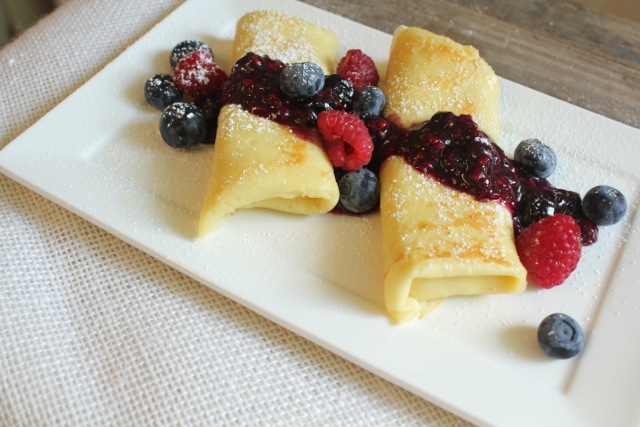 Cheese Blintzes with Mixed Berry Compote