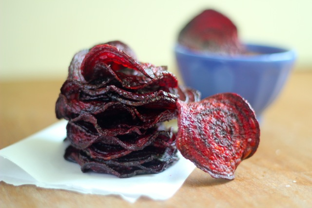 Beet Chips with Spicy Honey Mayo