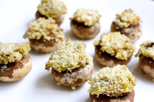 Pesto Hummus Stuffed Mushrooms