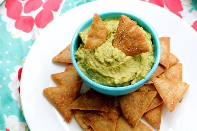 Pesto Hummus and Whole Wheat Pita Chips
