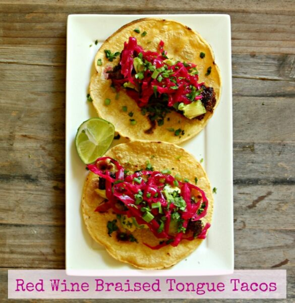 Red Wine Braised Tongue Tacos