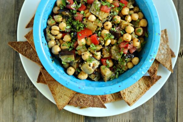 Grilled Eggplant and Chickpea Sephardic Salad