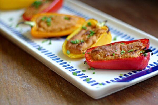 Red Pepper Hummus Stuffed Peppers