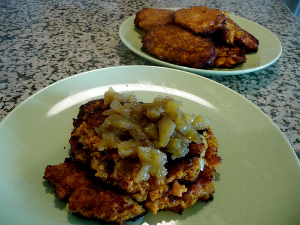 Sweet Potato Latkes and Applesauce - What Jew Wanna Eat