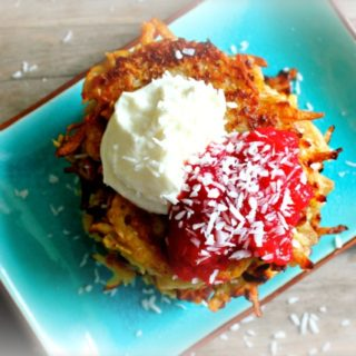 Coconut Latkes with Cranberry Applesauce and Cardamom Cream