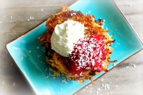 Coconut Latkes with Cranberry Applesauce and Cardamom Cream
