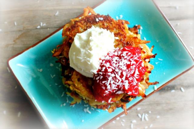 Coconut Latkes with Cranberry Applesauce & Cardamom Mascarpone