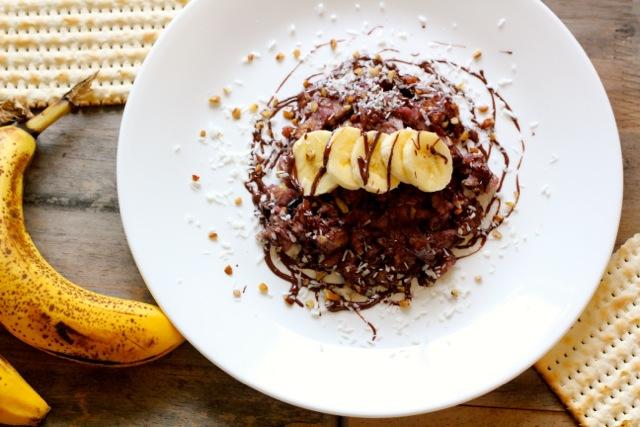 dark chocolate coconut banana vegan matzah brei