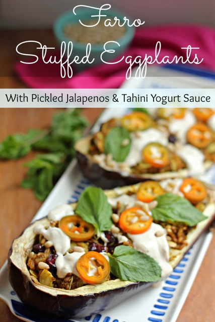 Farro Stuffed Eggplants with Pickled Jalapeños and Tahini Yogurt Sauce