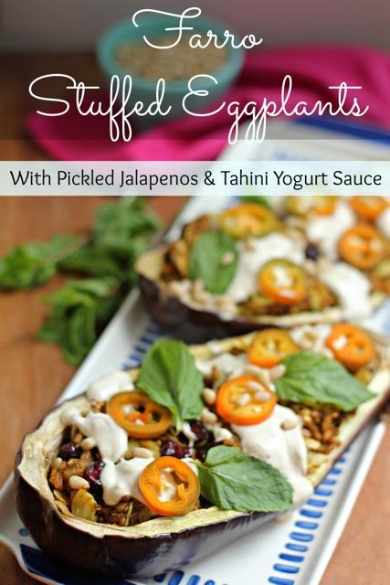 Farro Stuffed Eggplants with Pickled Jalapeños and Tahini Yogurt Sauce